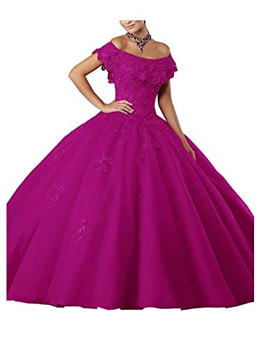 Women's Off-Shoulder Lace Applique Sweet 16 Prom Quinceanera Dress_Fuchsia_US24