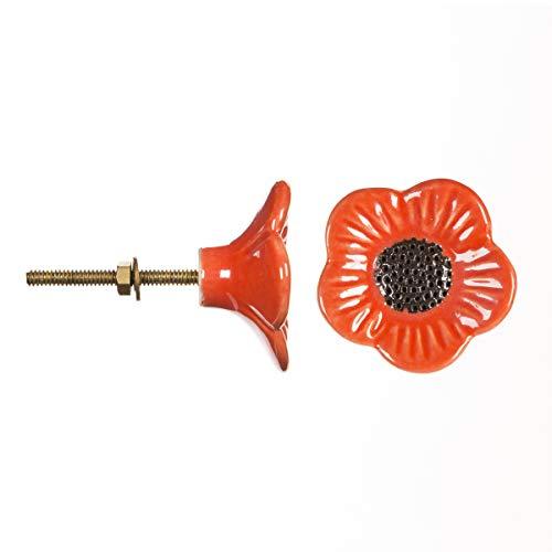 Darice 30004411 Decorative Ceramic Flower Red Poppy Knob
