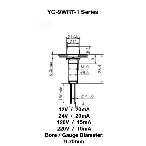 PACK OF 10 YuCo YC-9WRT-1B-24-10 BLUE 9MM LED INDICATOR MINIATURE PILOT LIGHT 24V AC or DC