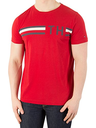 Tommy Hilfiger Men's Striped Graphic T-Shirt, Red, - Tommy Hilfiger Buy