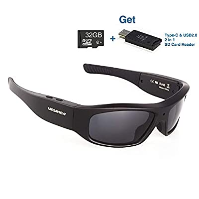 Wearable Camera Glasses 32GB Video Sunglasses HD 720P Video Recorder Glasses for Android Smartphone TR90 Glasses Frame with Polarized UV400 Lenses by MEGAVIEW