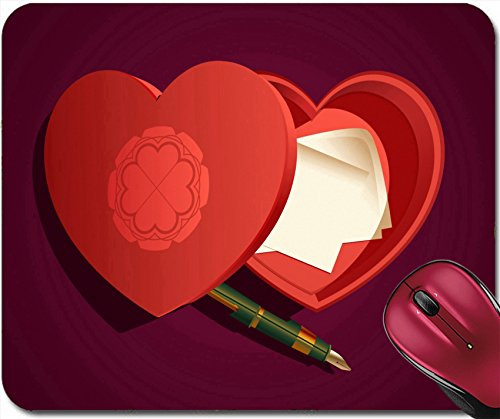 Liili Mousepad Heart Shaped Box with Fountain Pen and Notes IMAGE ID (Personalized Heart Shaped Pen)