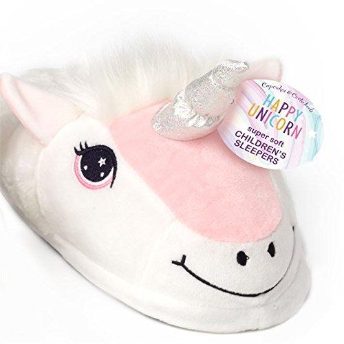 Carousel Home Soft Plush Happy Unicorn Children's Slippers Size 8 ~ Large:  Amazon.co.uk: Kitchen & Home