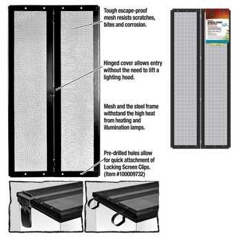 Metal Screen Cover - Zilla Fresh Air Terrarium Metal Screen Cover with Hinges (30 X 12 Inches)