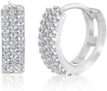CLEARANCE 18K White Gold Over Sterling Silver Cubic Zirconia Huggie Earrings