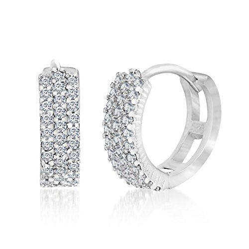 CLEARANCE 18K White Gold Over Sterling Silver Cubic Zirconia Huggie Earrings (How To Make A Halo Costume)