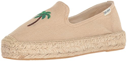 Soludos Women's Palm Tree Smoking Slipper, Safari, 6.5 Regular (Palm Tree Slipper)