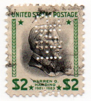 US Postage Stamp 1938 Harding Issue Single $2. With Perfins Scott #833