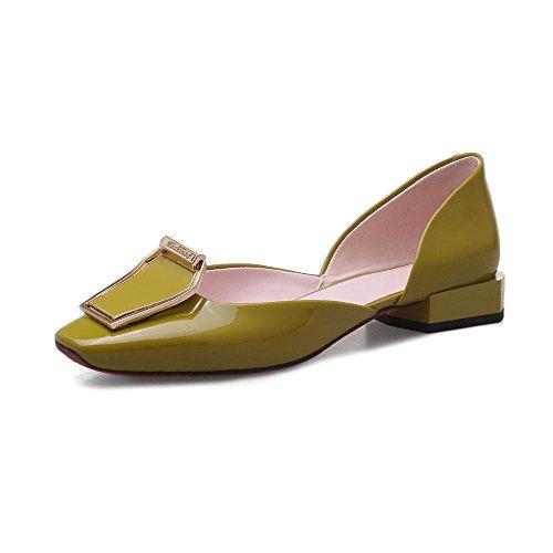 ZHRUI Zapatos de Tacón H5943 Mujer Simple PU Sandalias Todos los Días Casual Altura del Tacón 3cm Green