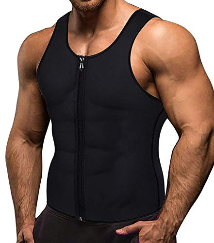 VENAS Men Waist Trainer Vest Weightloss Hot Neoprene Corset Compression Sweat Body Shaper Slimming Sauna Tank Top Workout Shirt (Black, XL)