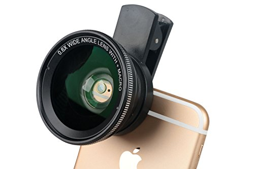 Cell Phone Camera Lens Kit,Leeko Universal Mobile Phone HD 2 in 1 Camera Lens Kit,0.6X Super Wide Angle Lens + 15X Macro Lens,Clip-On Cell Phone Lens for iPhone,Samsung, Android Smartphones (Black) by Leeko