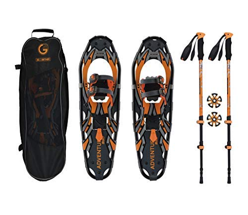 G2 GO2GETHER Snowshoes kit Adventure Adult (Orange, 30 in, Optimized Weight up to 250lb)