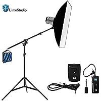 300W Flash Strobe Light Photo Studio Monolight Speedlite Lighting Kit, 24x 16 Softbox 2-way Boom Stand Kit, AGG1778V2