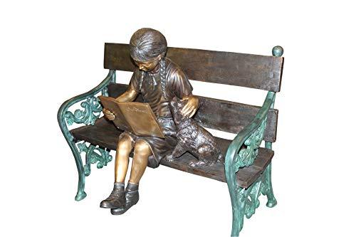 Buy girl sitting bench statue