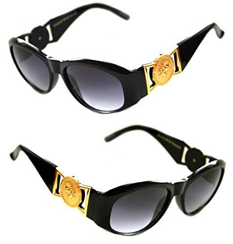1d28286e5a Men s Hip Hop Metal Gold Coin Logo 413 Medium Sunglasses Vintage Style  Biggie 852 (Black Gold
