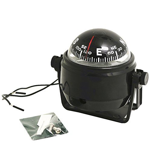 Compass Light, Mini Round Precision Compass with LED Light Sea Marine Electronic Digital Compass for Car Boat Truck