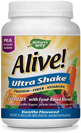 Nature s Way Alive Ultra-Shake Pea Protein, Includes Vitamins Fiber, Vanilla Flavor, 26 Servings