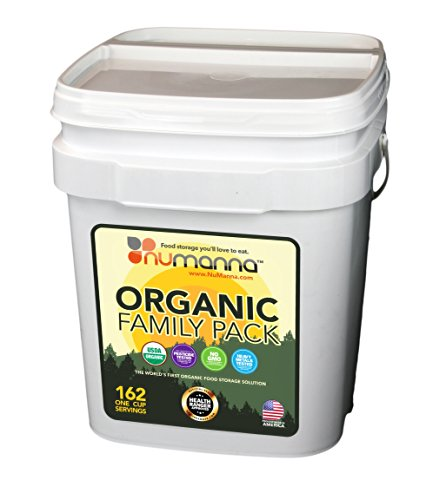 NuManna USDA ORGANIC Family Pack 162 Servings, Emergency Survival Food Storage Kit, Separate Rations, in a Bucket, Meals Included Have 25 Year Shelf Life , GMO-Free (Single) by NuManna