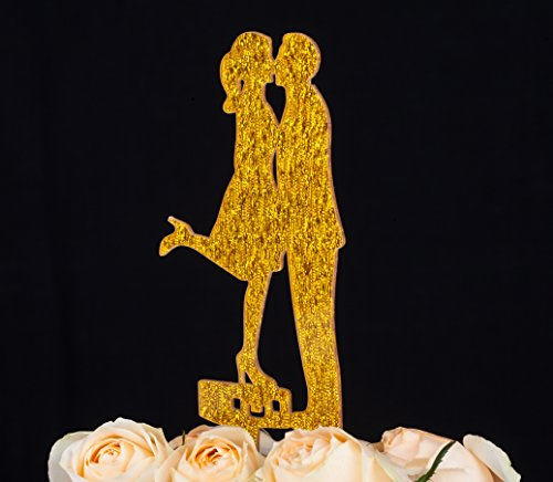 LOVENJOY with Gift Box A Kiss and We are Off Bride and Groom Silhouette Travel Wedding Cake Topper (3.5-inch, Gold Glitter)