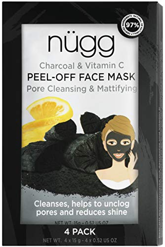 Purifying Charcoal PEEL OFF Mask - Activated Charcoal and Vitamin C for Deep Pore Cleansing and Brighter Skin; Pack of 4 Masks