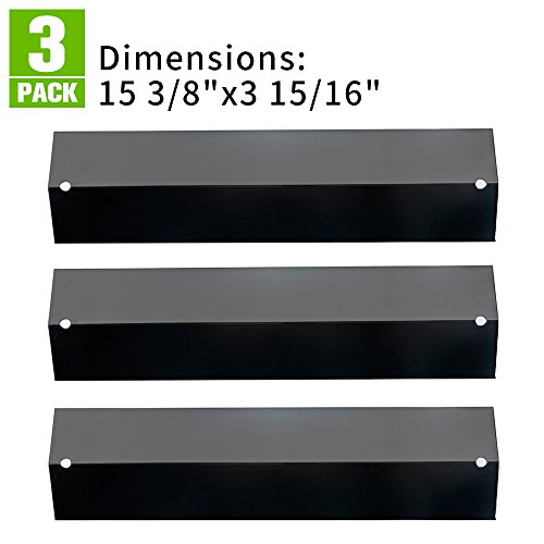 (XHome Grill Heat Plate for Brinkmann Grill Replacement Parts, Heat Tent Shield Deflector for Uniflame, Aussie and Others, 4-pack 15 3/8 inch Porcelain Steel BBQ Flame Tamer Burner Cover)