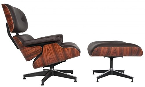Modern Sources - Mid-Century Plywood Lounge Chair & Ottoman Eames Replica Dark Brown Palisander Real Premium ()