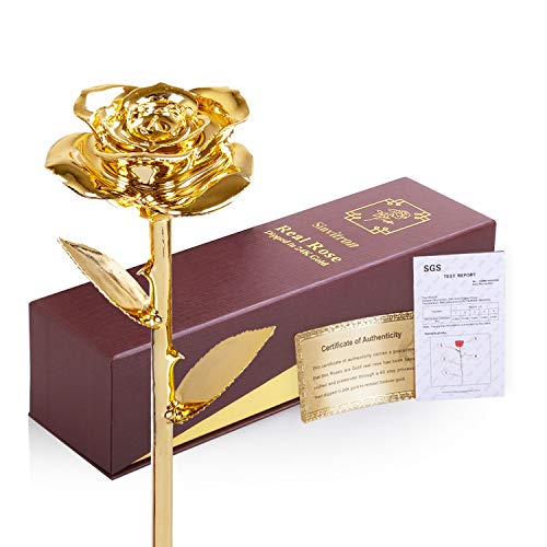 Sinvitron Rose Dipped in Gold, Real 24K Gold Dipped Rose Long Stem with Stand, Lasted Forever, Ideal Gift for Valentines' Day, Birthday, Anniversary, Mother's Day, Christmas for her