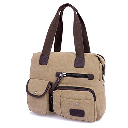 Men Leisure Tote Women Vintage Chou Sports Zipper Bag Khaki Duffel Crossbody Tiny Unisex Handbag Canvas BwE8a8X