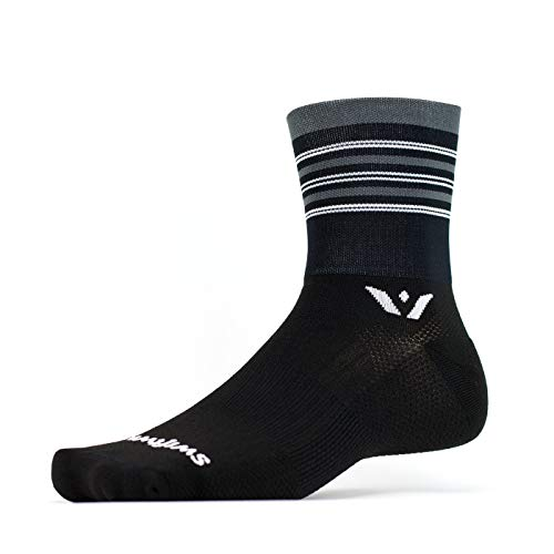 Swiftwick- ASPIRE FOUR | Socks Built for Trail Running & Cycling | Fast Drying, Firm Compression Crew Socks | Striped Black, Gray, Silver, X-Large