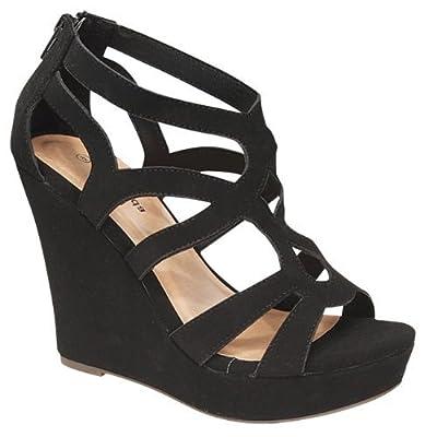 TOP Moda Women's Strappy Open Toe Platform Wedge