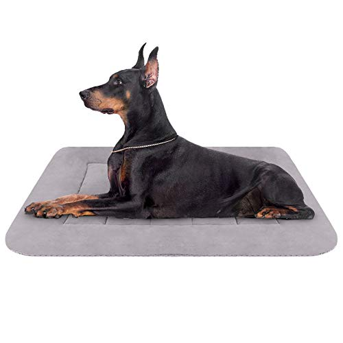 Hero Dog Large Dog Bed 42 inch Crate Pad Mat Washable Non Slip Pet Beds for Sleeping Grey L