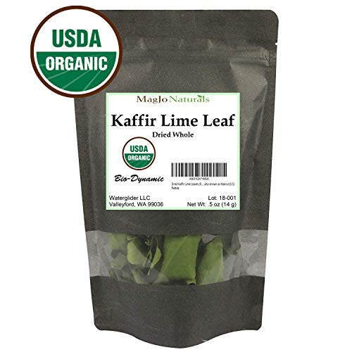 Organic Dried Kaffir Lime Leaves from Citrus Hystrix plant, also known as Makru (0.5 OUNCE BAG) ()