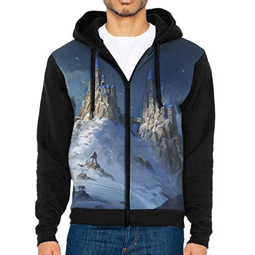 Men's Outdoor Full Zip Jackets Hoodie Snow Mountain Castle Hooded Sweatshirt Pullover