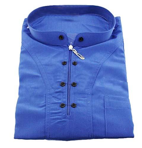 Domple Mens Long-Sleeve Zipper Mock Neck Muslim Arab Islamic Dubai Saudi Thobes Robe Blue XL
