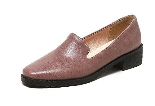 VogueZone009 Damen Ziehen auf Niedriger Absatz Blend-Materialien Rein Quadratisch Zehe Pumps Schuhe Pink