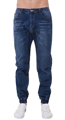 PAUL JONES Men's Vintage Jogger Twill Jeans Ripped Elastic Waist Size L Jean (Jones Wear Jeans)