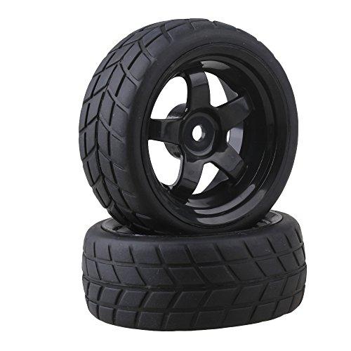 BQLZR Black RC 1: 10 Flat Car 12mm Hub Wheel Rims 5 Spoke + Rubber Tires Pack of 4
