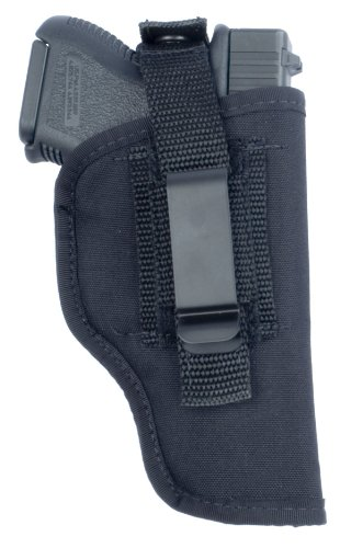 "Soft Armor ""in-The-Pant or Hip Ambidextrous Nylon Gun Holster with Thumb Break Retention Strap, Black, Size 15"