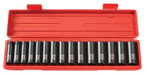 TEKTON 1/2-Inch Drive Deep Impact Socket Set, Metric, Cr-V, 6-Point, 10 mm – 24 mm, 15-Sockets | 4883
