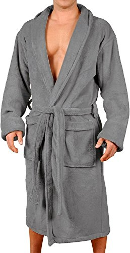 Wanted Men's Lightweight Plush Fleece Shawl Collar Kimono Robe (Charcoal, Large/X-Large)