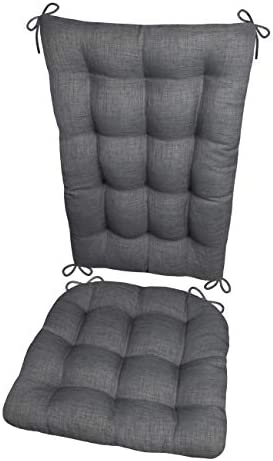 Barnett Products Porch Rocker Cushions – Rave Grey – Size Extra-Large – Indoor Outdoor Fade Resistant, Mildew Resistant – Latex Foam Filled Seat Pad and Back Rest, Reversible, Machine Washable