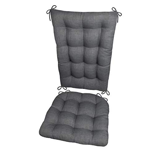 Barnett Products Porch Rocker Cushions - Rave Grey - Size Extra-Large - Indoor/Outdoor: Fade Resistant, Mildew Resistant - Latex Foam Filled Seat Pad and Back Rest, Reversible, Machine Washable