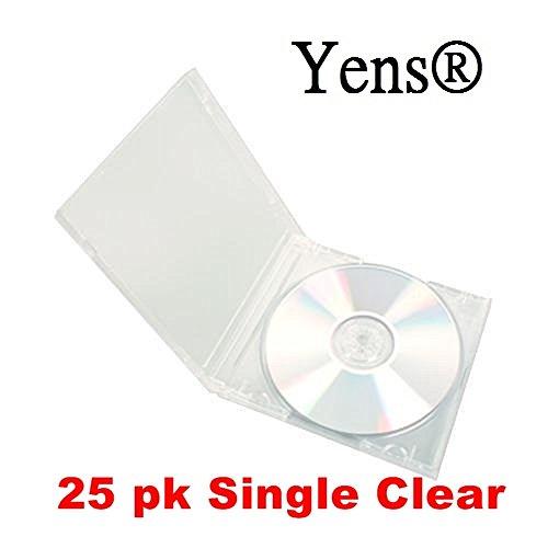 Yens Standard Single CD Jewel Case Assembled, 10.4mm, Clear, 25 Piece (Jewel Dvd Cases Cd Single)