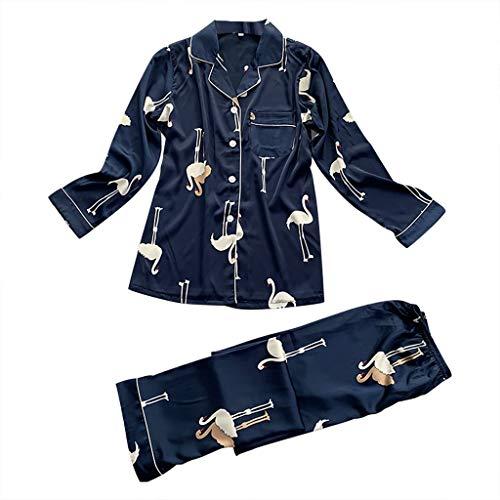 Happylove Women's Button Down Satin Pajama Set,Long Sleeve Printed Silky Nightwear