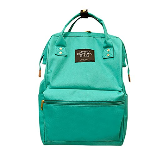 School Travel Bag,Unisex Solid Backpack School Travel Bag Double Shoulder Bag Zipper Bag (Green) (Double Fashion Zippers Solid)