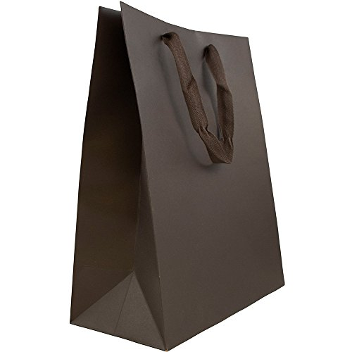 (JAM PAPER Heavy Duty Kraft Gift Bags - Large - 10 x 13 x 5 - Chocolate Brown Matte Recycled - Sold Individually)