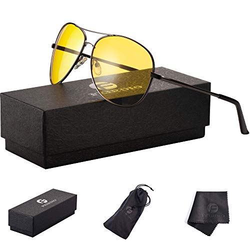 Night Vision Glasses for Driving - Feirdo HD night driving glasses anti glare polarized mens women glasses (black gun/yellow)