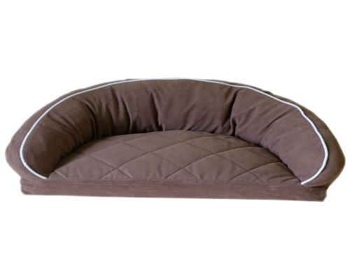 CPC Diamond Quilted Semi Circle Chocolate Lounge for Dogs and Cats with Linen Piping, 42 x 27 x 12-Inch