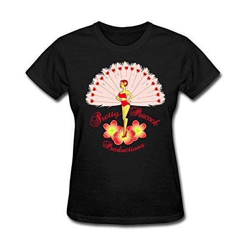 design-tee-women-dancing-girls-peacock-tee-shirts-o-neck-tee-black-s