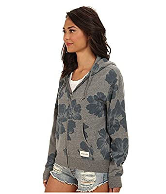 41d9fb196d5 Obey Seygrid Zip Gunmetal Heather Blue Floral Sweatshirt Junior s Hoodie  (X-Small)